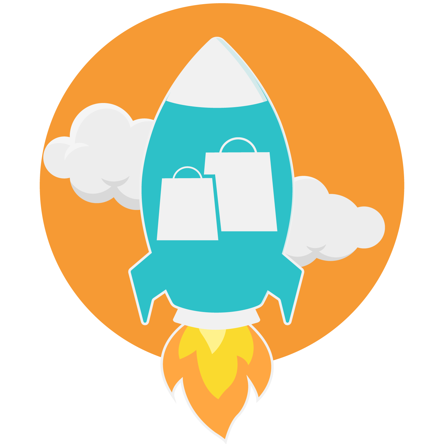 SALES-BOOSTER-ICON-PROMOTIONS FOR AMAZON PRODUCTS WITH AMAZON COUPONS - SHOPPING BAGS IN A ROCKET